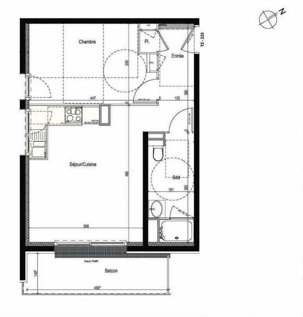 Plan 223, appartement neuf type T2 au 2ème étage, faisant 42m² du programme neuf Les Boréales à Rouen.