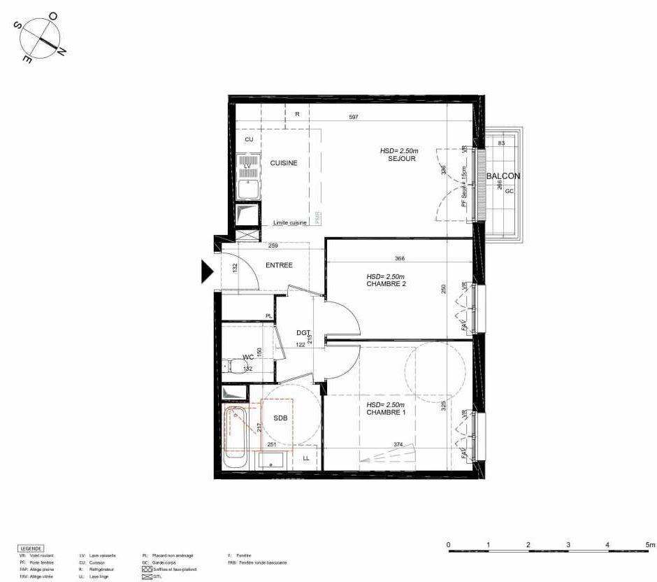 Plan 223, appartement neuf type T3 au 2ème étage, orienté Nord faisant 55m² du programme neuf LES JARDINS BALZAC BAT 3 à Argenteuil.