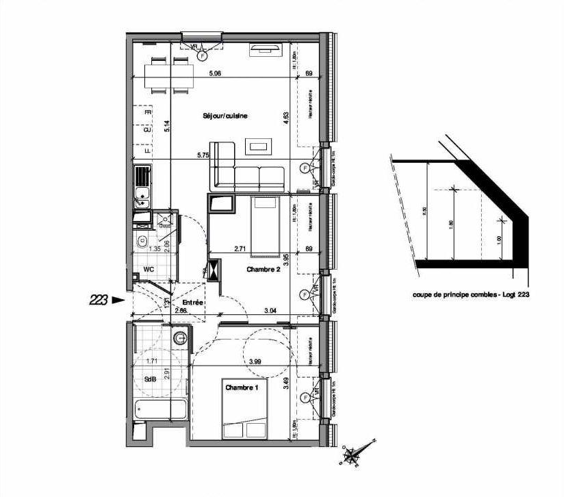 Plan 223, appartement neuf type T3 au 2ème étage, orienté Nord faisant 61m² du programme neuf VILLA LOUISE BAT B - 201 A 224 à Andilly.