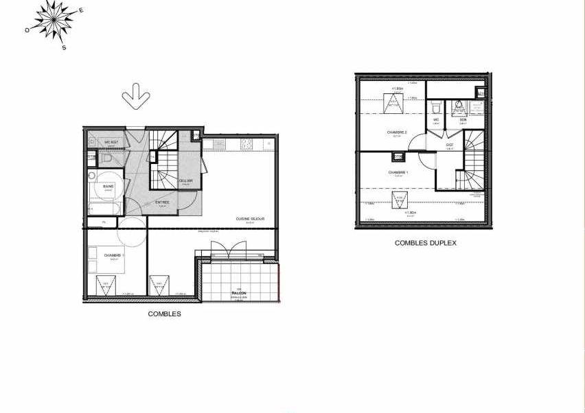 Plan 223, appartement neuf type T4 au 2ème étage, orienté Sud faisant 95m² du programme neuf Villas Aravis à Saint-Pierre-en-Faucigny.