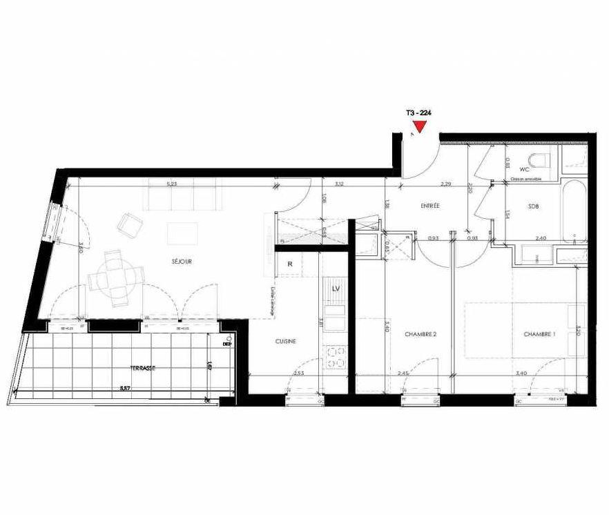 Plan 224, appartement neuf type T3 au 2ème étage, orienté Sud faisant 65m² du programme neuf 2 PRIEURE BATIMENT 2 à Saint-Germain-en-Laye.