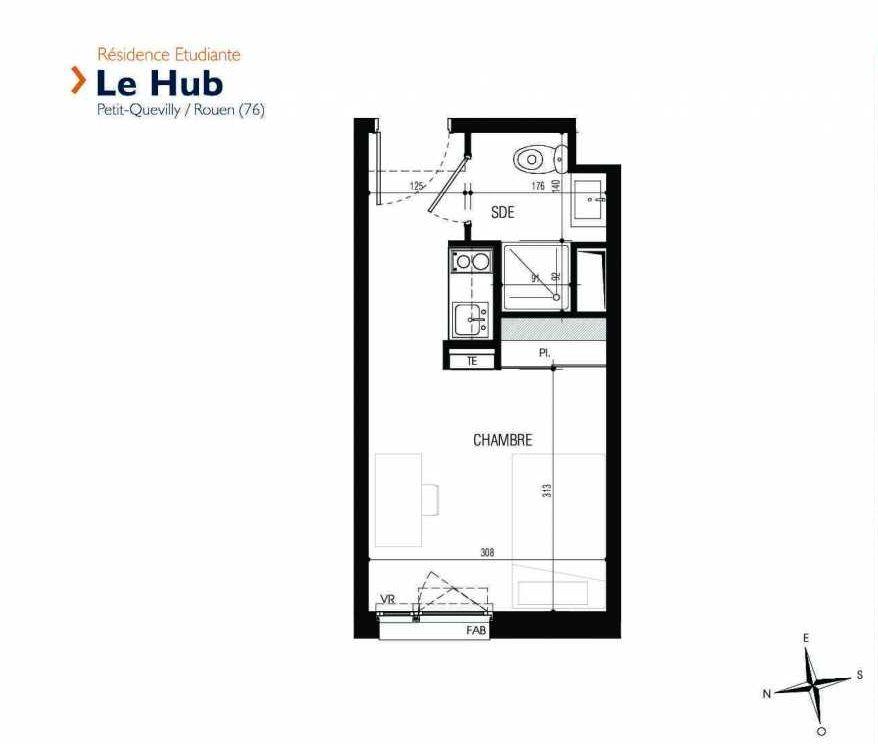 Plan 224, appartement neuf type T1 au 2ème étage, faisant 18m² du programme neuf Le Hub à Le Petit-Quevilly.