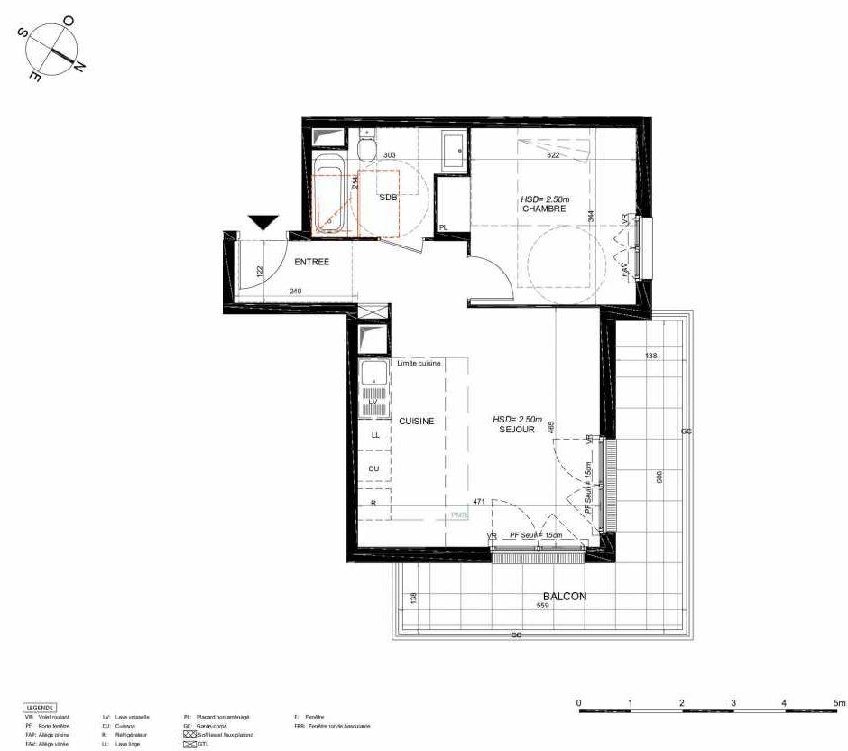 Plan 224, appartement neuf type T2 au 2ème étage, orienté Nord faisant 44m² du programme neuf LES JARDINS BALZAC BAT 3 à Argenteuil.