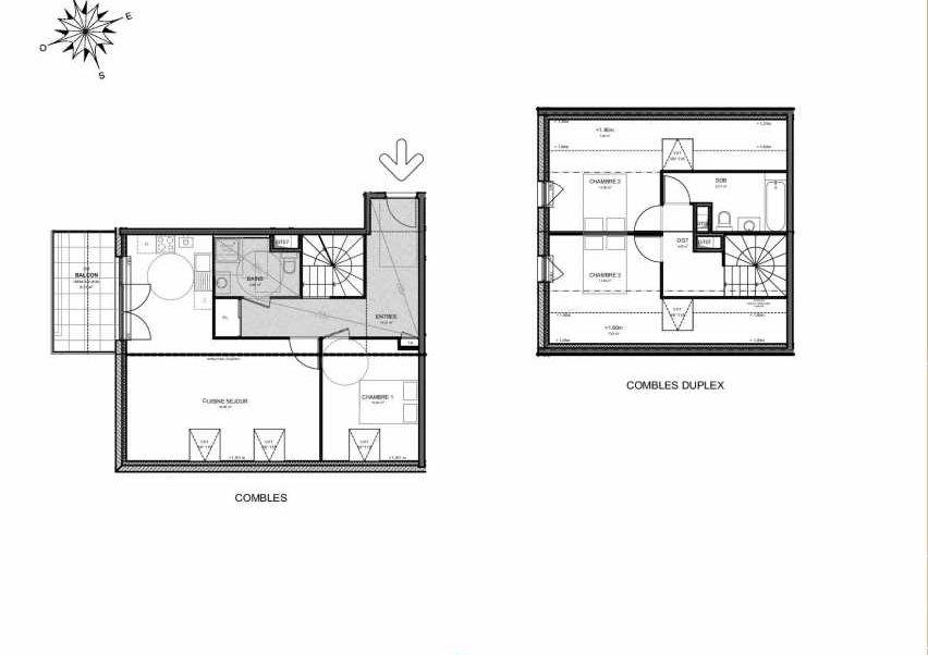 Plan 224, appartement neuf type T4 au 2ème étage, orienté Sud faisant 100m² du programme neuf Villas Aravis à Saint-Pierre-en-Faucigny.