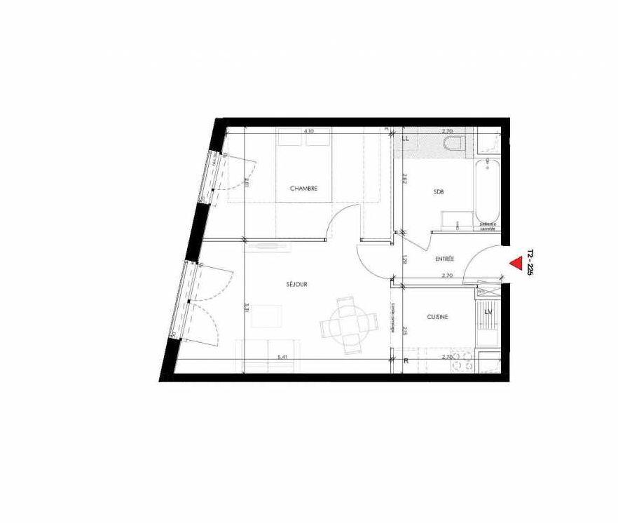 Plan 225, appartement neuf type T2 au 2ème étage, orienté Ouest faisant 44m² du programme neuf 2 PRIEURE BATIMENT 2 à Saint-Germain-en-Laye.