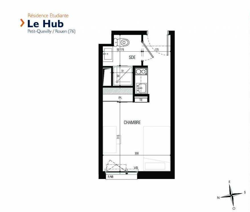 Plan 225, appartement neuf type T1 au 2ème étage, faisant 18m² du programme neuf Le Hub à Le Petit-Quevilly.