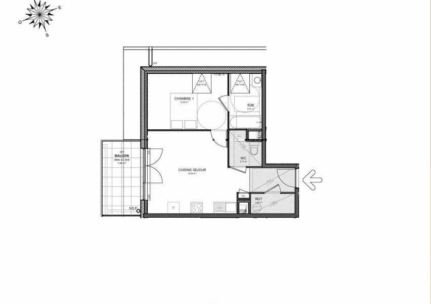 Plan 225, appartement neuf type T2 au 2ème étage, orienté Ouest faisant 45m² du programme neuf Villas Aravis à Saint-Pierre-en-Faucigny.
