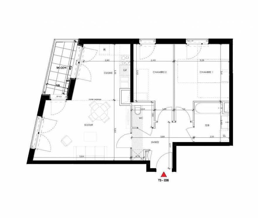 Plan 226, appartement neuf type T3 au 2ème étage, orienté Ouest faisant 65m² du programme neuf 2 PRIEURE BATIMENT 2 à Saint-Germain-en-Laye.