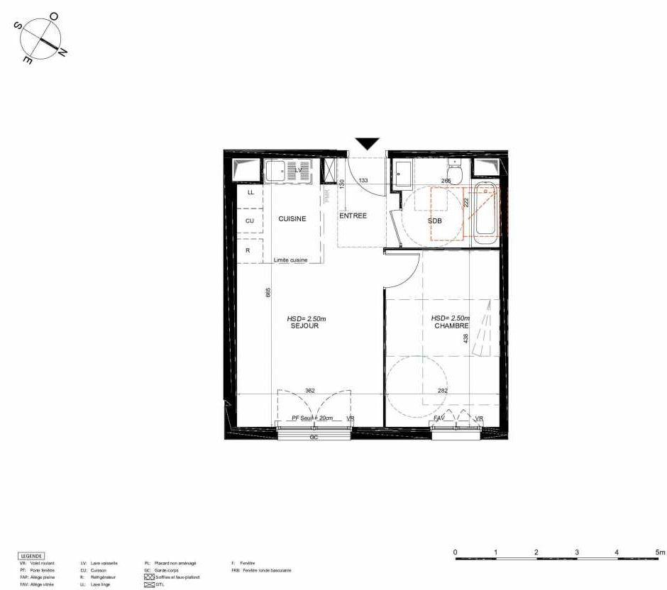 Plan 226, appartement neuf type T2 au 2ème étage, orienté Nord faisant 42m² du programme neuf LES JARDINS BALZAC BAT 3 à Argenteuil.