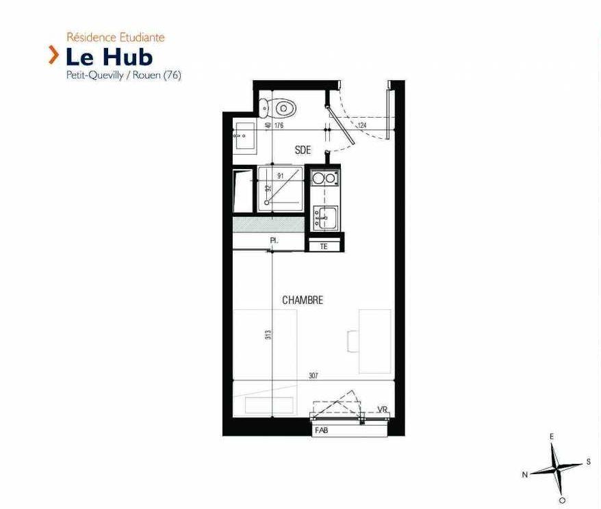 Plan 227, appartement neuf type T1 au 2ème étage, faisant 18m² du programme neuf Le Hub à Le Petit-Quevilly.