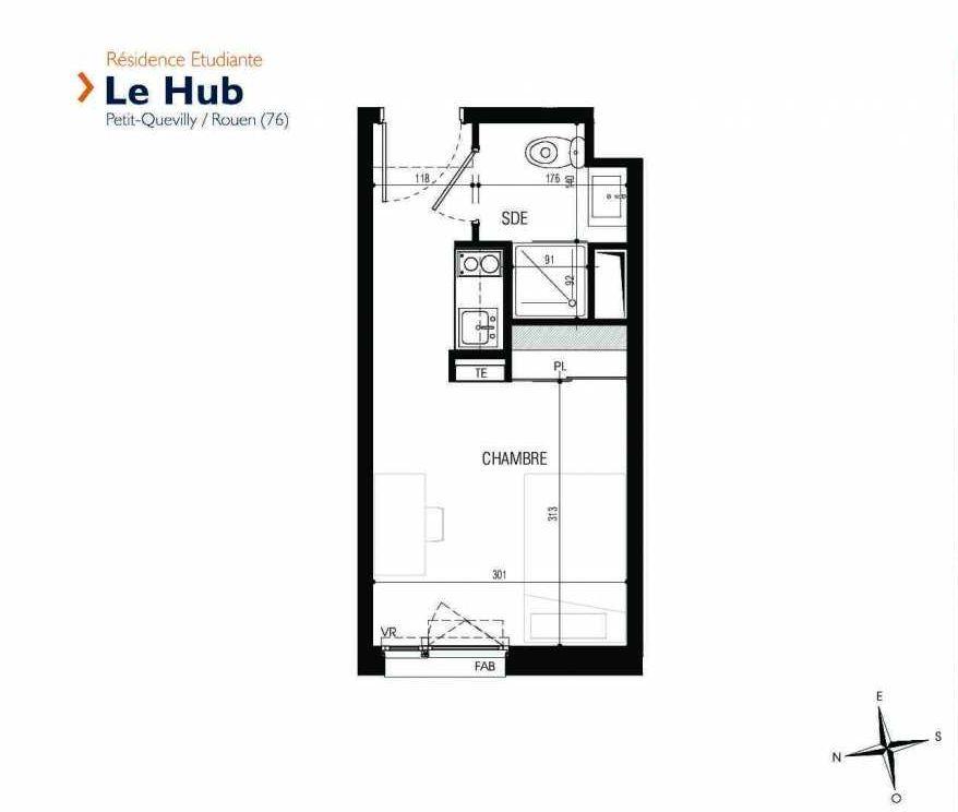 Plan 228, appartement neuf type T1 au 2ème étage, faisant 17m² du programme neuf Le Hub à Le Petit-Quevilly.