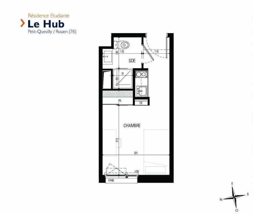 Plan 229, appartement neuf type T1 au 2ème étage, faisant 17m² du programme neuf Le Hub à Le Petit-Quevilly.