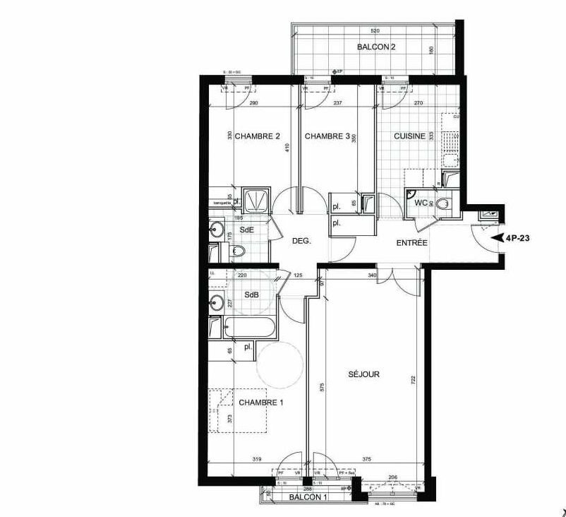 Plan 23, appartement neuf type T4 au 2ème étage, faisant 93m² du programme neuf BOULOGNE CONFIDENTIEL à Boulogne-Billancourt.