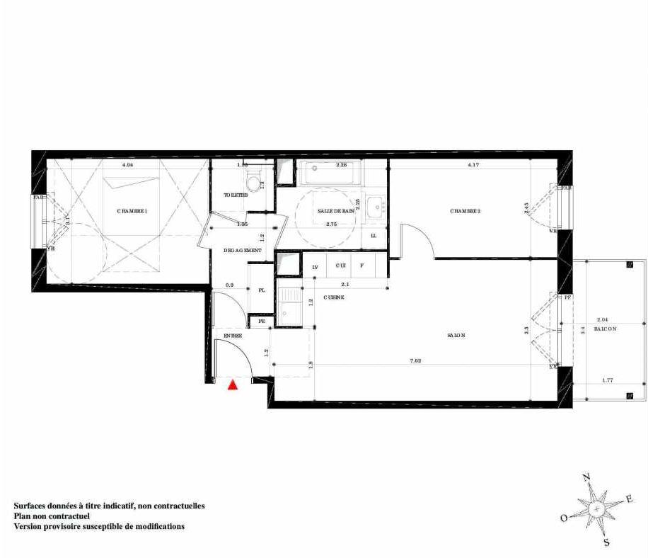 Plan 23, appartement neuf type T3 au 2ème étage, orienté Sud faisant 61m² du programme neuf EN SCENE à Nancy.