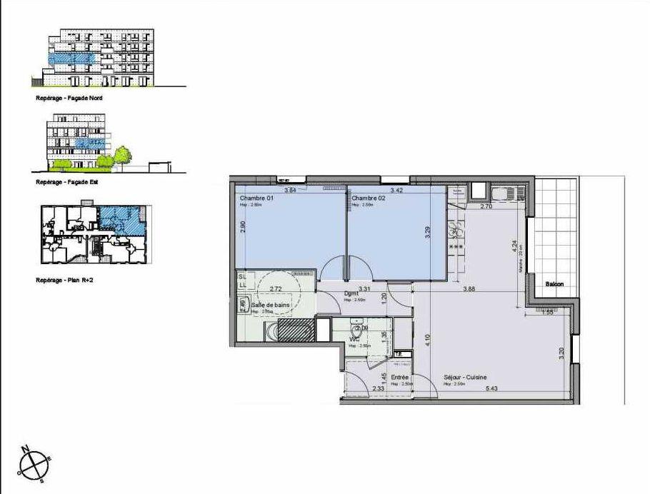 Plan 23, appartement neuf type T3 au 2ème étage, orienté Sud faisant 70m² du programme neuf Greystone à Lille.