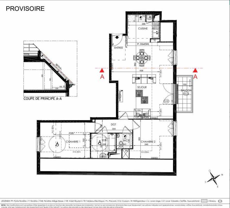 Plan 2301, appartement neuf type T3 au 3ème étage, orienté Nord faisant 73m² du programme neuf L'ALISEE à Les Clayes-sous-Bois.