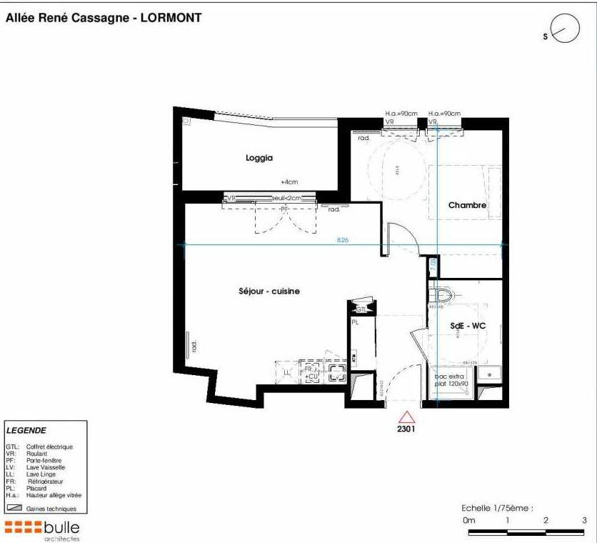 Plan 2301, appartement neuf type T2 au 4ème étage, orienté Ouest faisant 46m² du programme neuf LES JARDINS D'ANAIS BAT 2 à Lormont.