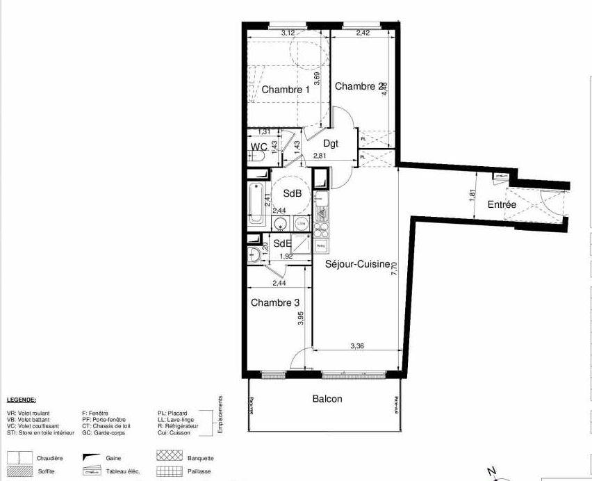 Plan 2301, appartement neuf type T4 au 3ème étage, orienté Sud faisant 82m² du programme neuf LES JARDINS D'ARGELIES BÂTIMENT 1 ET 2 à Juvisy-sur-Orge.