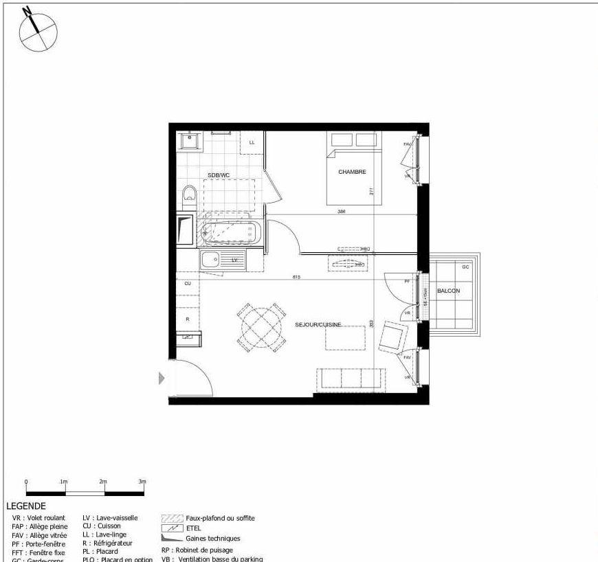 Plan 2302, appartement neuf type T2 au 3ème étage, orienté Sud faisant 40m² du programme neuf 11ÈME AVENUE ACCESSION à Eaubonne.