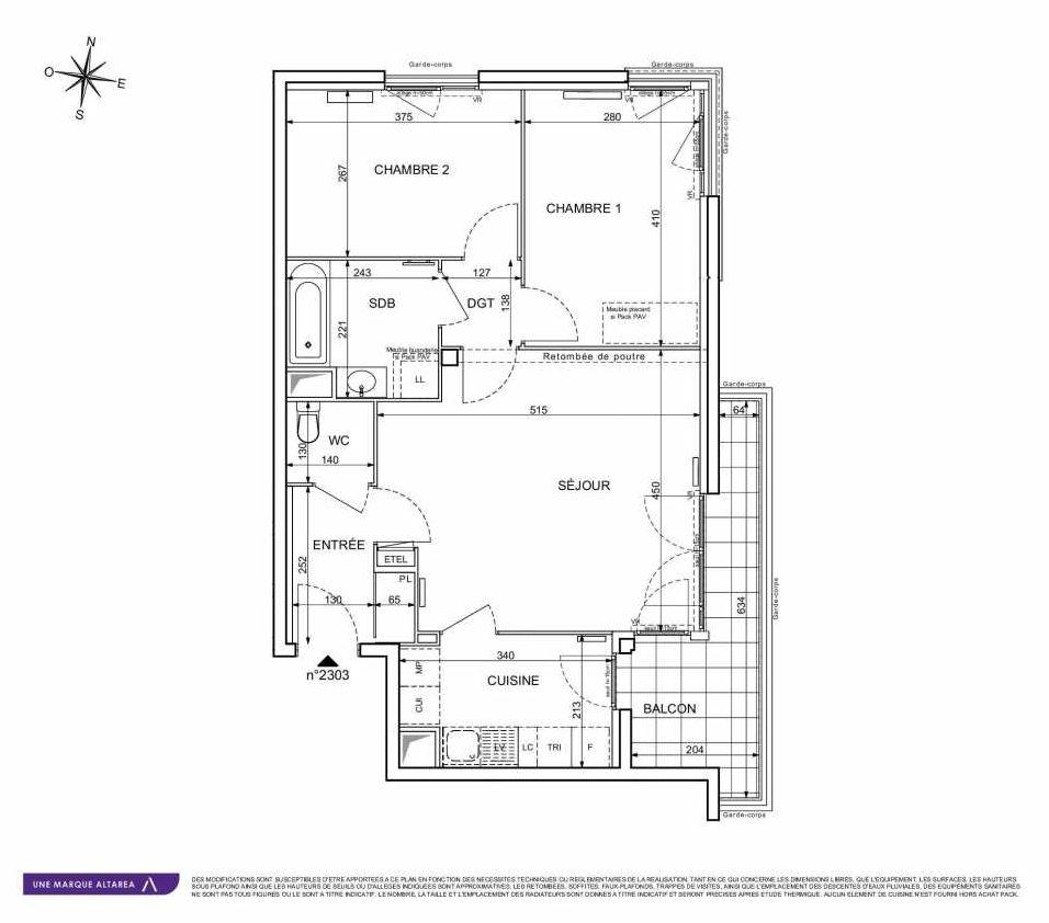 Plan 2303, appartement neuf type T3 au 3ème étage, orienté Sud faisant 62m² du programme neuf 18 RUE CHARLES MARTIGNY à Maisons-Alfort.