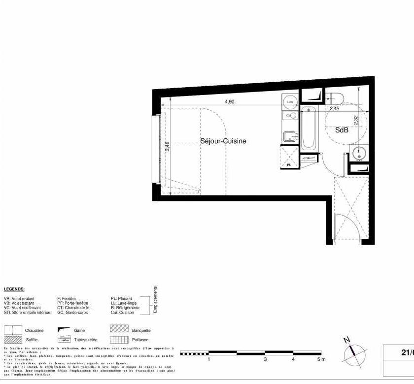 Plan 2303, appartement neuf type T1 au 3ème étage, orienté Ouest faisant 28m² du programme neuf LES JARDINS D'ARGELIES BÂTIMENT 1 ET 2 à Juvisy-sur-Orge.
