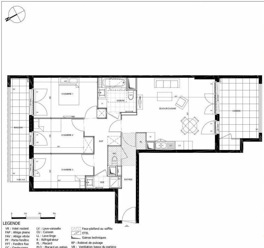 Plan 2304, appartement neuf type T4 au 3ème étage, orienté Sud faisant 81m² du programme neuf 11ÈME AVENUE ACCESSION à Eaubonne.