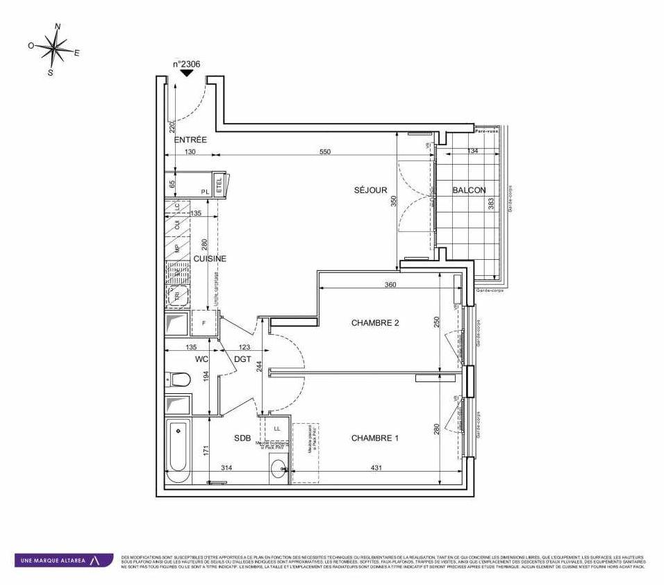Plan 2306, appartement neuf type T3 au 3ème étage, orienté Est faisant 63m² du programme neuf 18 RUE CHARLES MARTIGNY à Maisons-Alfort.
