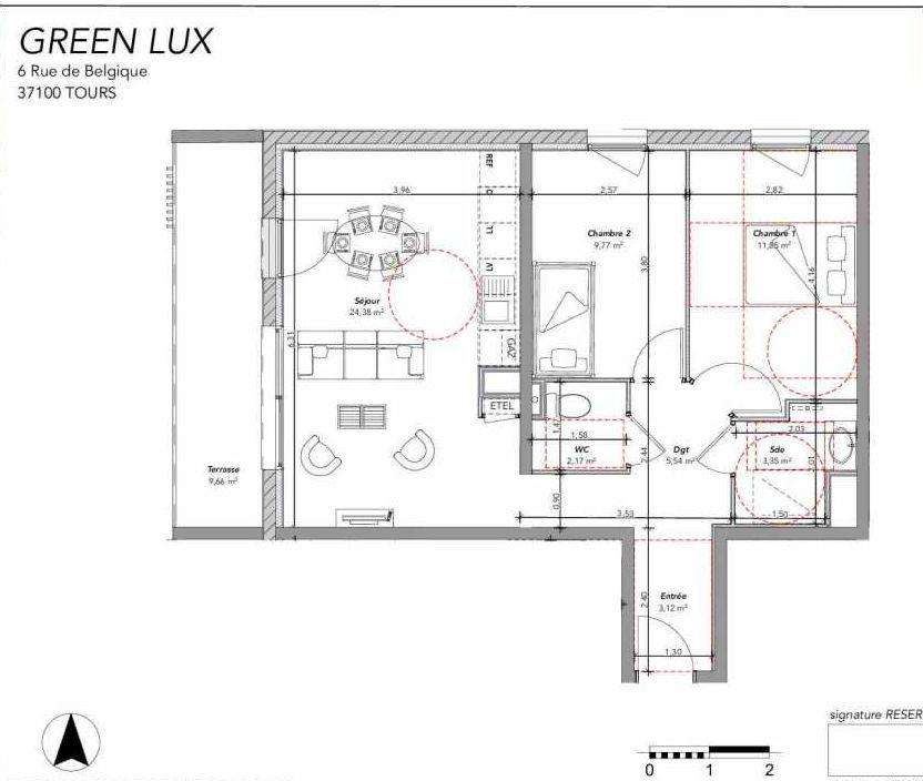 Plan 2306, appartement neuf type T3 au 3ème étage, orienté Nord faisant 60m² du programme neuf GREEN LUX VENTE ED BAT 2 à Tours.
