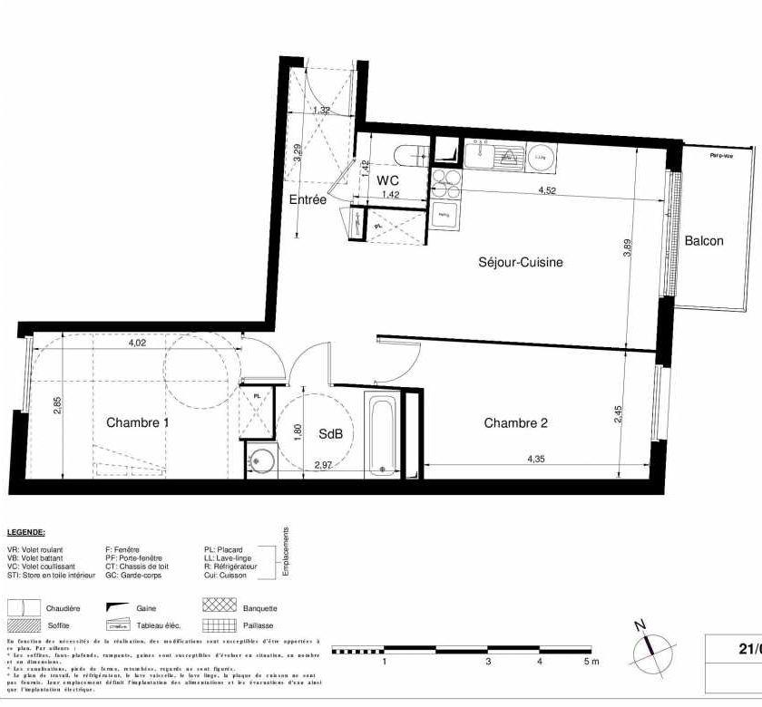 Plan 2306, appartement neuf type T3 au 3ème étage, orienté Est faisant 61m² du programme neuf LES JARDINS D'ARGELIES BÂTIMENT 1 ET 2 à Juvisy-sur-Orge.