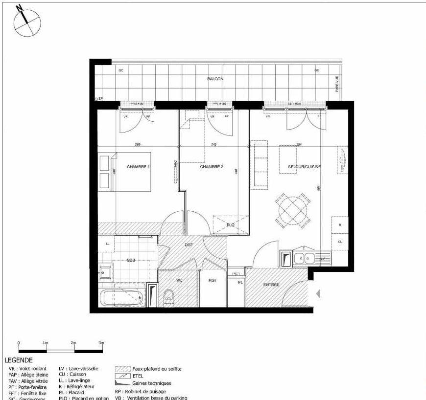 Plan 2308, appartement neuf type T3 au 3ème étage, orienté Est faisant 59m² du programme neuf 11ÈME AVENUE ACCESSION à Eaubonne.