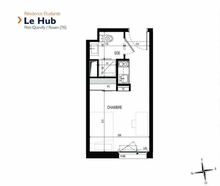 Plan 231, appartement neuf type T1 au 2ème étage, faisant 18m² du programme neuf Le Hub à Le Petit-Quevilly.