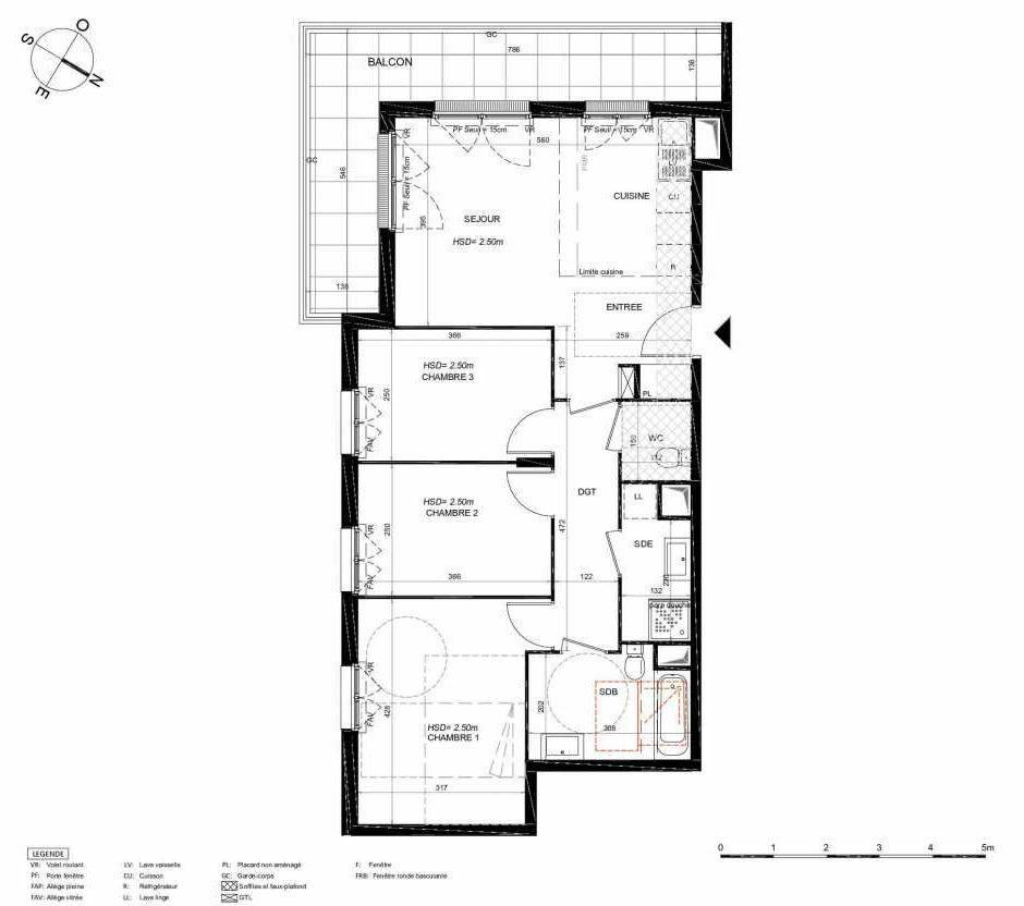 Plan 231, appartement neuf type T4 au 3ème étage, orienté Sud faisant 75m² du programme neuf LES JARDINS BALZAC BAT 3 à Argenteuil.