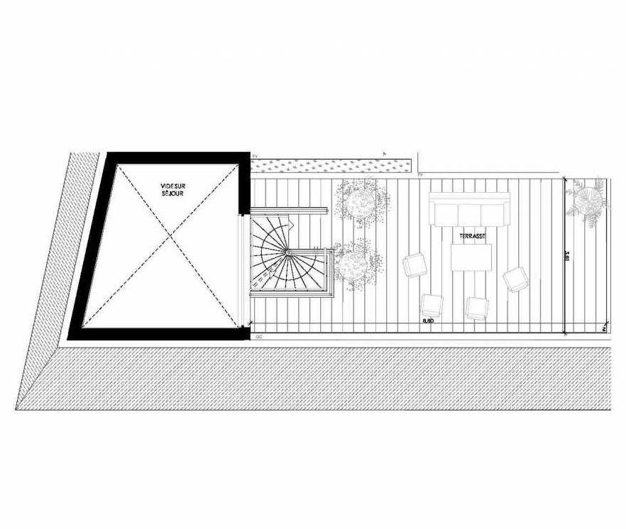 Plan 232, appartement neuf type T4 au 3ème étage, orienté Sud faisant 82m² du programme neuf 2 PRIEURE BATIMENT 2 à Saint-Germain-en-Laye.