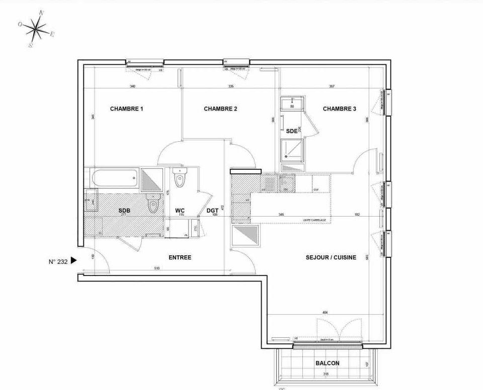 Plan 232, appartement neuf type T4 au 3ème étage, orienté Sud faisant 81m² du programme neuf L'Intemporel à Thiais.