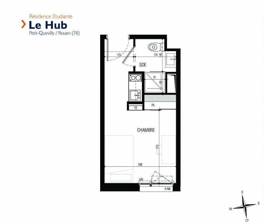Plan 232, appartement neuf type T1 au 2ème étage, faisant 18m² du programme neuf Le Hub à Le Petit-Quevilly.