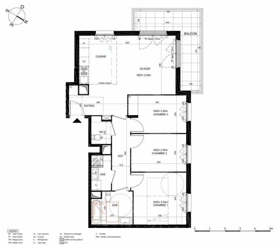 Plan 232, appartement neuf type T4 au 3ème étage, orienté Nord faisant 78m² du programme neuf LES JARDINS BALZAC BAT 3 à Argenteuil.