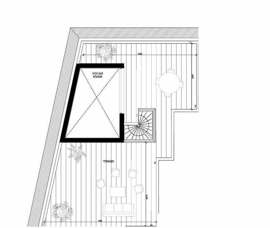 Plan 233, appartement neuf type T4 au 3ème étage, orienté Ouest faisant 85m² du programme neuf 2 PRIEURE BATIMENT 2 à Saint-Germain-en-Laye.