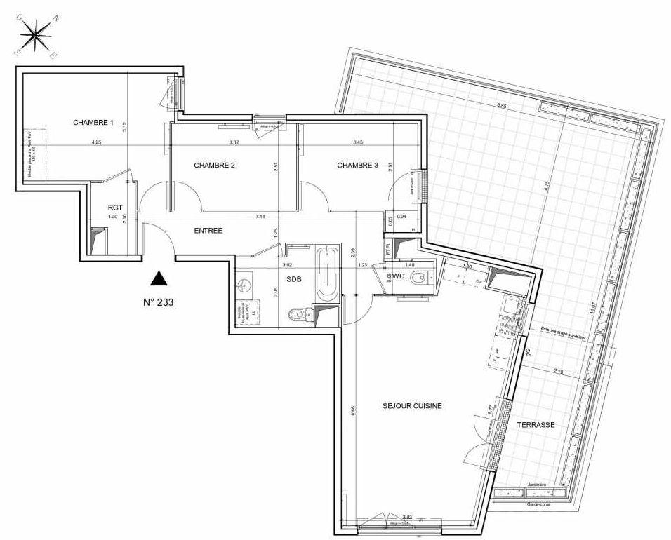 Plan 233, appartement neuf type T4 au 3ème étage, orienté Nord faisant 84m² du programme neuf Arboria à Drancy.