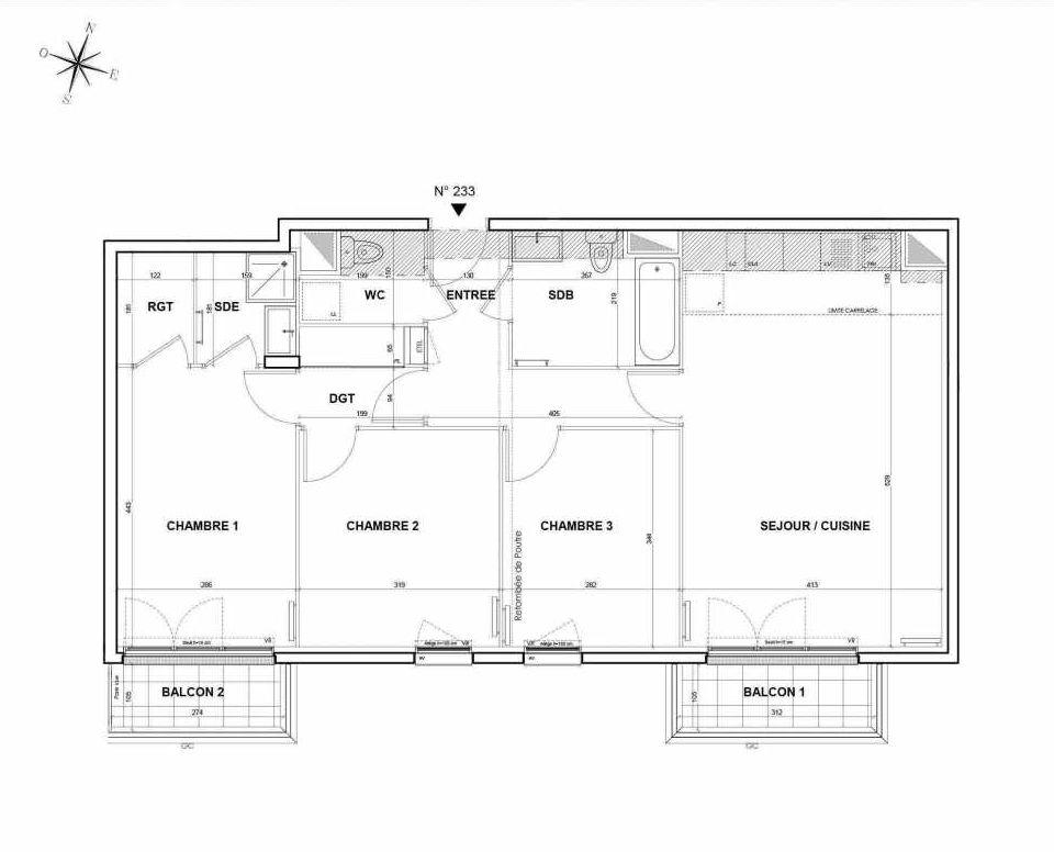 Plan 233, appartement neuf type T4 au 3ème étage, orienté Sud faisant 83m² du programme neuf L'Intemporel à Thiais.