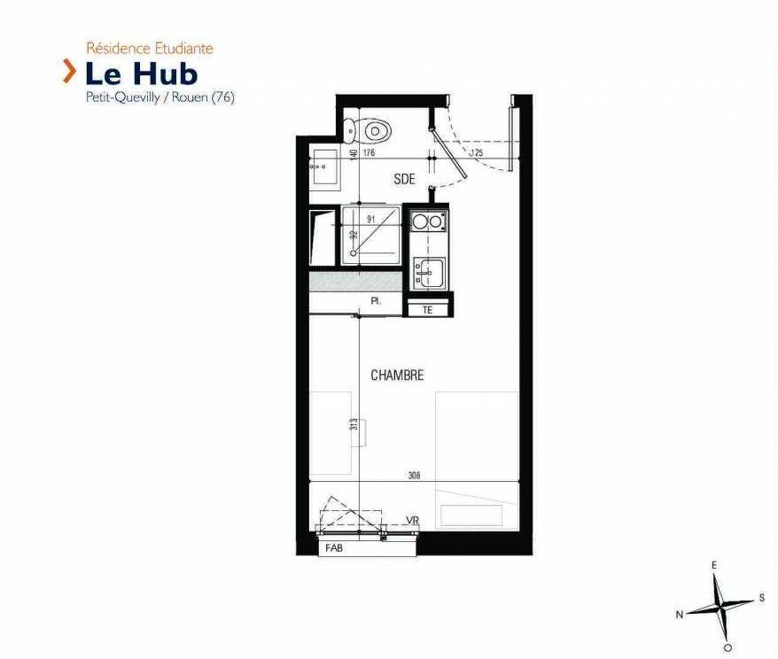 Plan 233, appartement neuf type T1 au 2ème étage, faisant 18m² du programme neuf Le Hub à Le Petit-Quevilly.