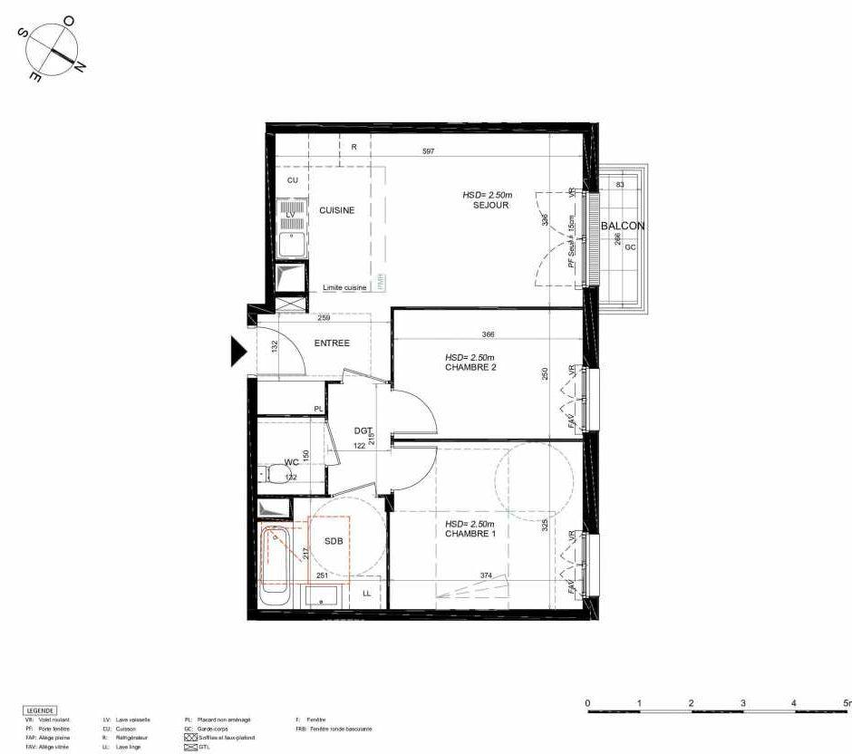 Plan 233, appartement neuf type T3 au 3ème étage, orienté Nord faisant 55m² du programme neuf LES JARDINS BALZAC BAT 3 à Argenteuil.