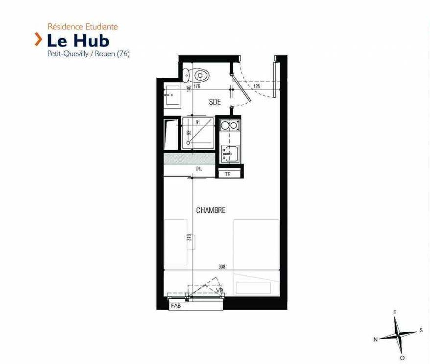 Plan 234, appartement neuf type T1 au 2ème étage, faisant 18m² du programme neuf Le Hub à Le Petit-Quevilly.