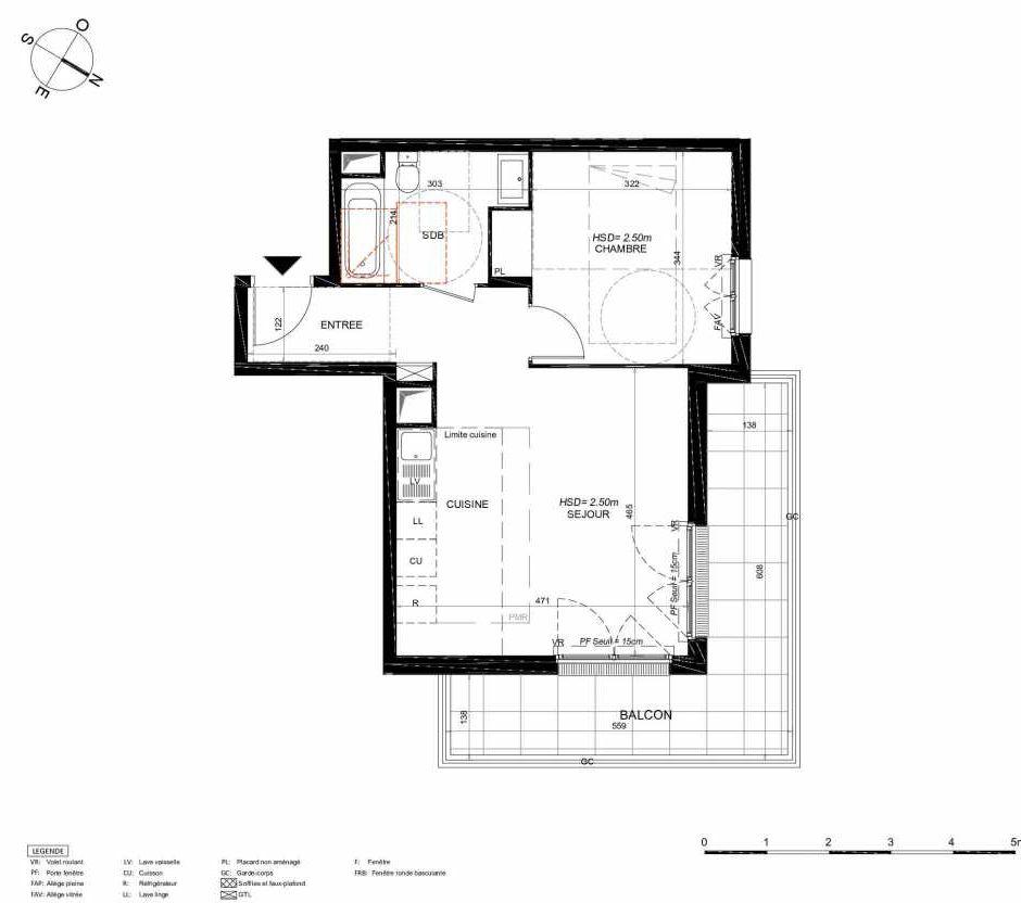 Plan 234, appartement neuf type T2 au 3ème étage, orienté Nord faisant 44m² du programme neuf LES JARDINS BALZAC BAT 3 à Argenteuil.