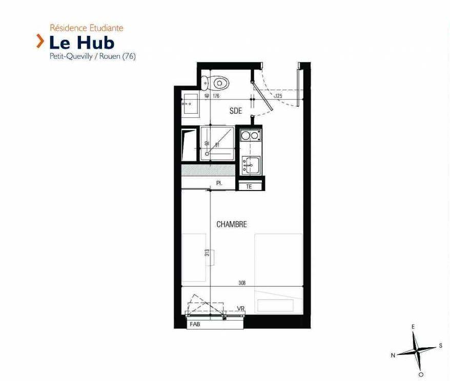 Plan 235, appartement neuf type T1 au 2ème étage, faisant 18m² du programme neuf Le Hub à Le Petit-Quevilly.