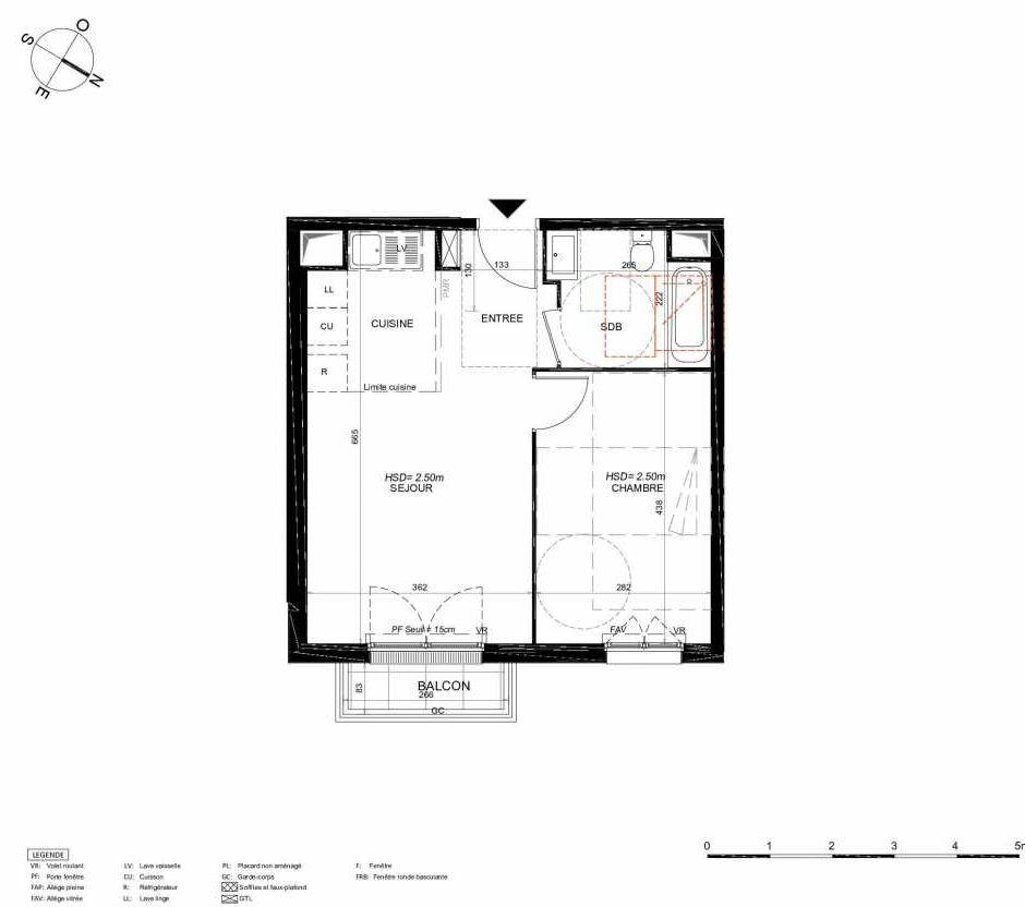 Plan 236, appartement neuf type T2 au 3ème étage, orienté Nord faisant 42m² du programme neuf LES JARDINS BALZAC BAT 3 à Argenteuil.
