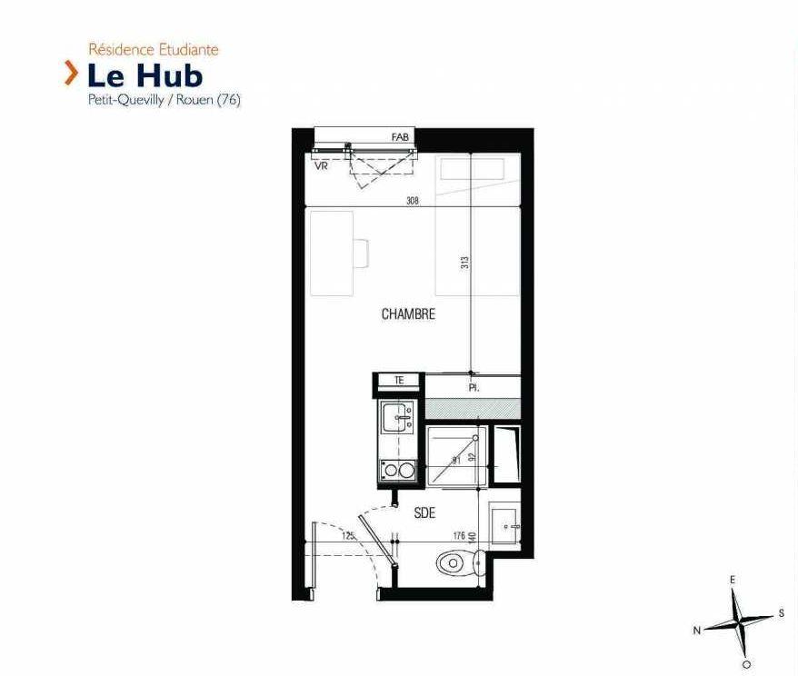 Plan 238, appartement neuf type T1 au 2ème étage, faisant 18m² du programme neuf Le Hub à Le Petit-Quevilly.
