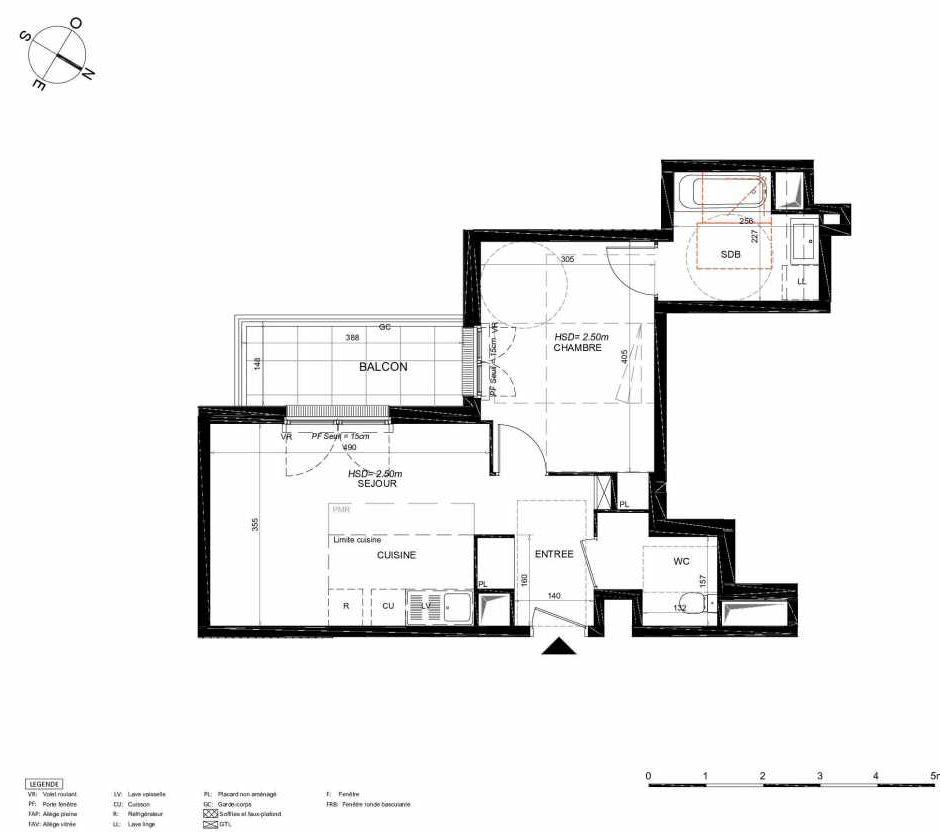 Plan 238, appartement neuf type T2 au 3ème étage, orienté Sud faisant 43m² du programme neuf LES JARDINS BALZAC BAT 3 à Argenteuil.