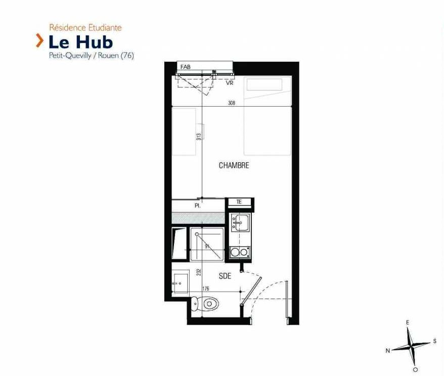 Plan 239, appartement neuf type T1 au 2ème étage, faisant 18m² du programme neuf Le Hub à Le Petit-Quevilly.