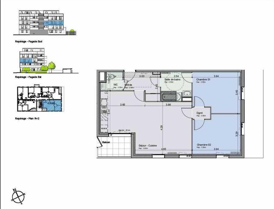 Plan 24, appartement neuf type T3 au 2ème étage, orienté Sud faisant 70m² du programme neuf Greystone à Lille.