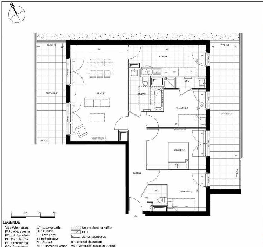 Plan 2401, appartement neuf type T4 au 4ème étage, orienté Ouest faisant 85m² du programme neuf 11ÈME AVENUE ACCESSION à Eaubonne.